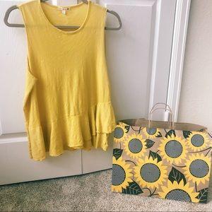 Sundry Yellow / Gold Ruffle Multi-Season Tank Top